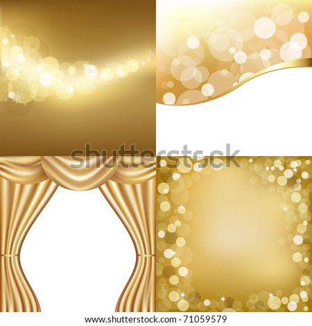 3 Gold Background With Stars And Gold Curtain, Vector Illustration