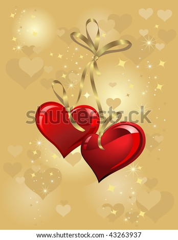 gold background with two heart for valentine day