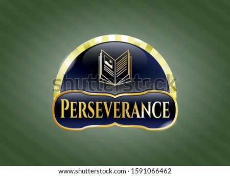 Gold badge or emblem with book icon and Perseverance text inside
