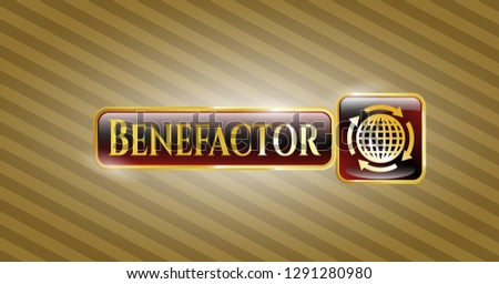 Gold badge or emblem with globalization icon and Benefactor text inside