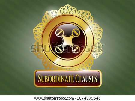 Gold badge or emblem with Gold badge or emblem with air drone icon and Subordinate Clauses text inside air drone icon and Subordinate Clauses text inside