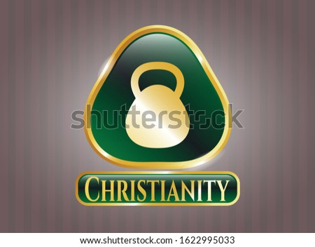Gold badge or emblem with kettlebell icon and Christianity text inside