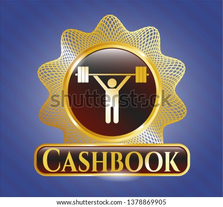 Gold badge or emblem with weightlifting icon and Cashbook text inside