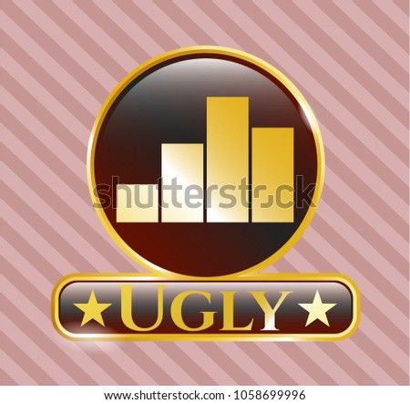 gold badge with chart icon and