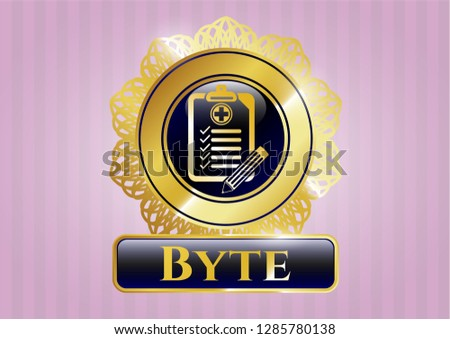 Gold badge with clinic history icon and Byte text inside