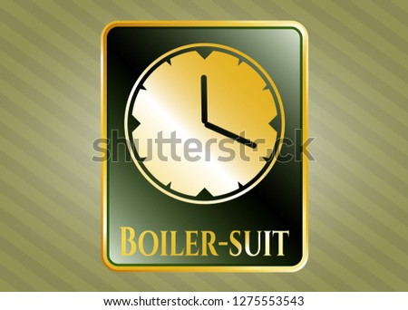 Gold badge with clock, time icon and Boiler-suit text inside