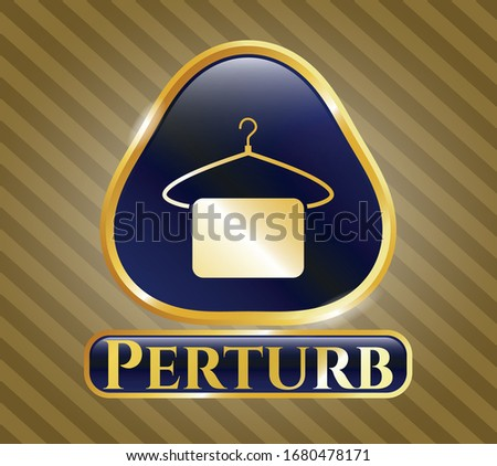 Gold badge with hanger with towel icon and Perturb text inside Photo stock ©