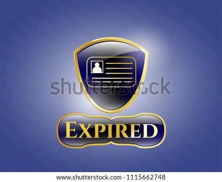 Gold badge with identification card icon and Expired text inside