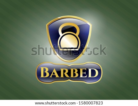 Gold badge with kettlebell icon and Barbed text inside