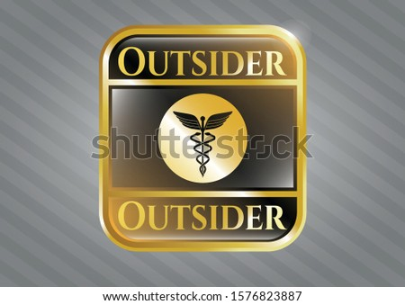 Gold badge with medicine icon and Outsider text inside