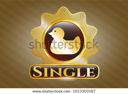 gold badge with rubber duck