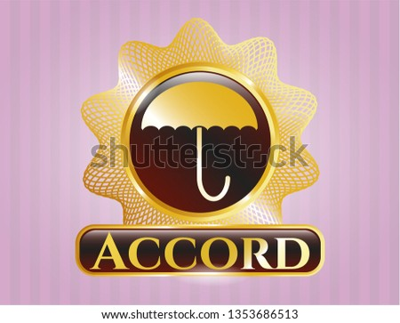 Gold badge with umbrella icon and Accord text inside