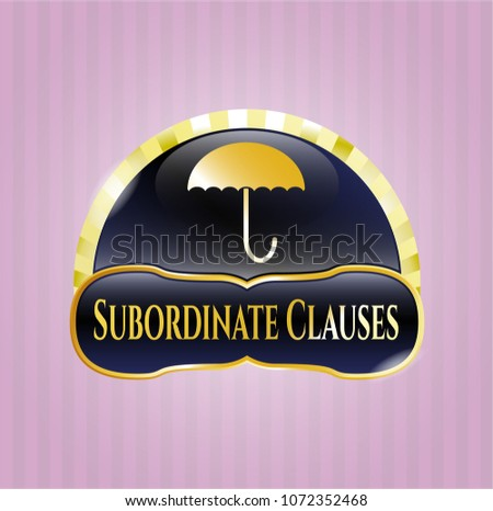 Gold badge with umbrella icon and Subordinate Clauses text inside