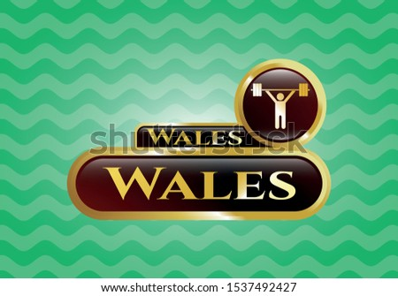 Gold badge with weightlifting icon and Wales text inside