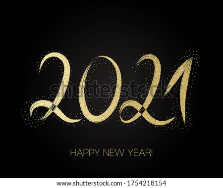 2021 Gold Brushstroke Banner. Isolated Brush Shape 2021. Stylish Happy New Year Typography. Happy New Year Elegant Business Background. Winter Holiday Greeting Card. Painted 2021 Modern Minimal Logo.