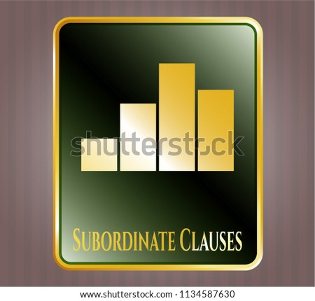 Gold emblem or badge with chart icon and Subordinate Clauses text inside