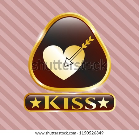 gold emblem or badge with love