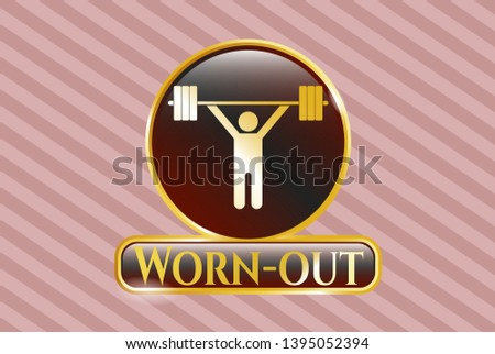 Gold emblem or badge with weightlifting icon and Worn-out text inside