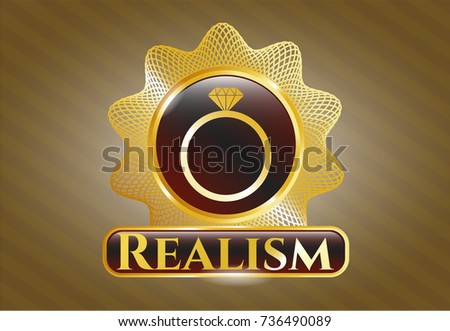 gold emblem with diamond ring
