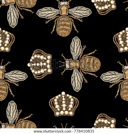 gold embroidery bee and crown