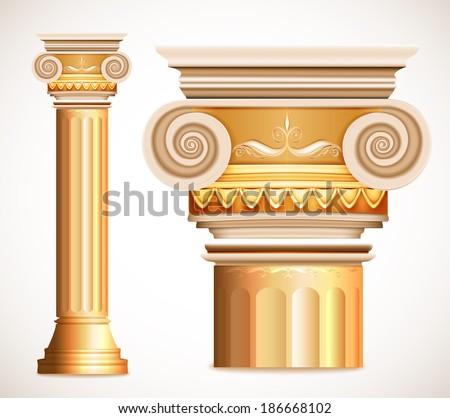 Gold Column Vector Gold Greece Column Vector