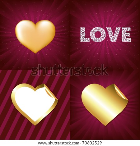 3 gold hearts and word love