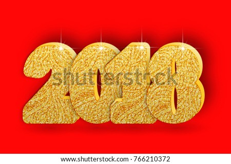 2018 Gold Numbers Design. Signs for greeting card. Golden Shining Pattern. Happy New Year Banner or Christmas greeting Numbers on Bright Background. Vector illustration. Zdjęcia stock ©