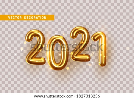2021 Gold Numbers for New Year and Christmas Design. Glittering confetti of bokeh lights and sparkling tinsel particles. 2021 Golden symbol in metal font. Isolated on transparent background. 3d vector