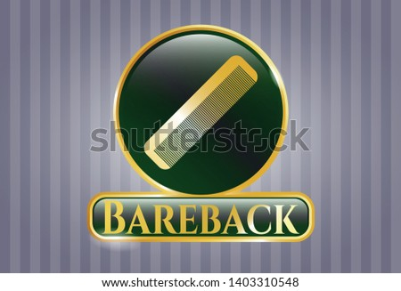Gold shiny badge with hair comb icon and Bareback text inside