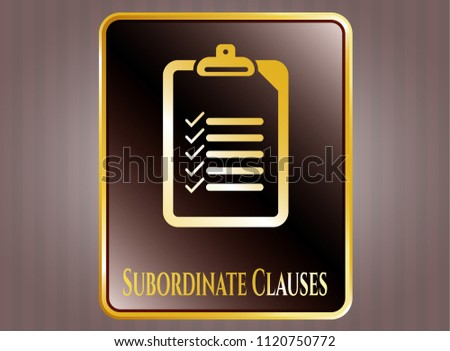 Gold shiny badge with list icon and Subordinate Clauses text inside