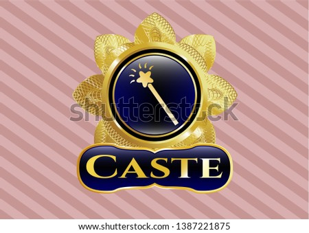 Gold shiny badge with magic stick icon and Caste text inside