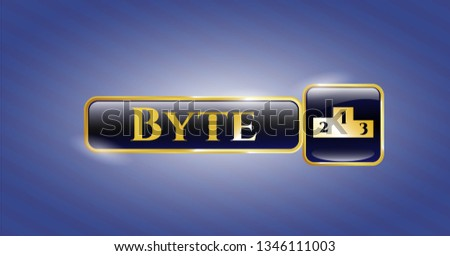 Gold shiny badge with podium icon and Byte text inside