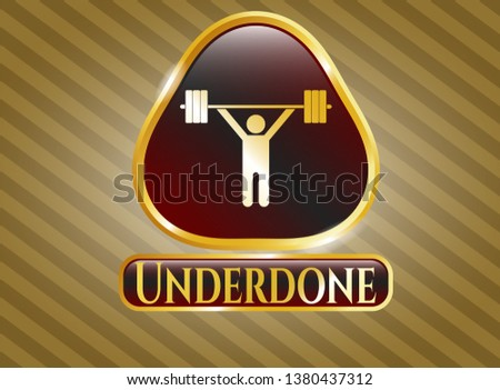 Gold shiny badge with weightlifting icon and Underdone text inside