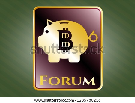 Gold shiny emblem with bitcoin piggy bank icon and Forum text inside