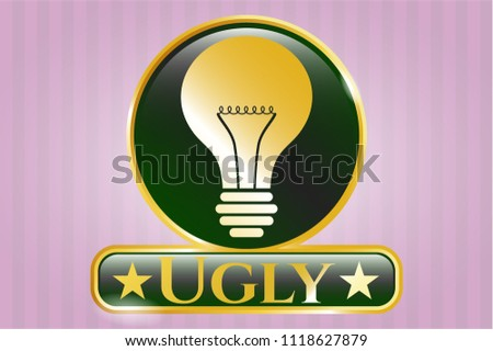 gold shiny emblem with light