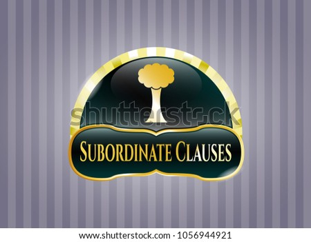 Gold shiny emblem with tree icon and Subordinate Clauses text inside