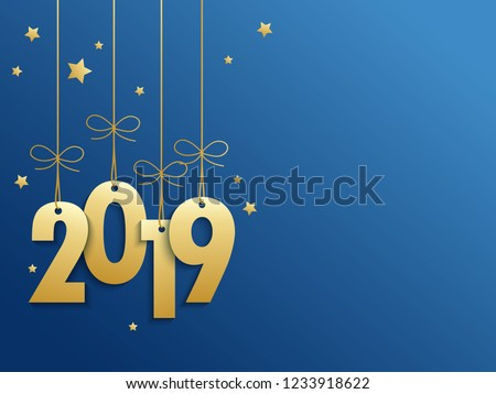 2019 Gold Suspended on Blue Background