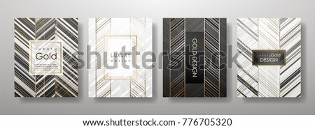Gold template set, artistic covers design, colorful texture,realistic fluid backgrounds. Black, white Trendy pattern, graphic poster, geometric brochure, cards. Vector illustration
