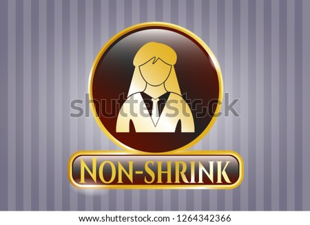 Golden badge with businesswoman icon and Non-shrink text inside