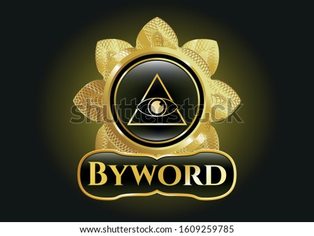 Golden badge with illuminati pyramid icon and Byword text inside