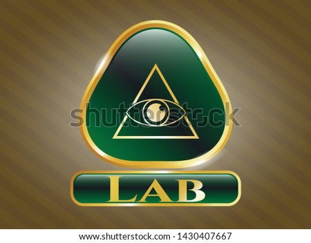 Golden badge with illuminati pyramid icon and Lab text inside