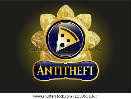 Golden badge with pizza slice icon and Antitheft text inside