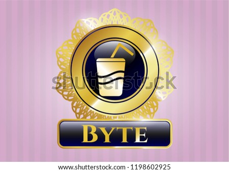 Golden badge with soda icon and Byte text inside