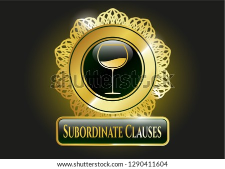 Golden badge with wine cup icon and Subordinate Clauses text inside