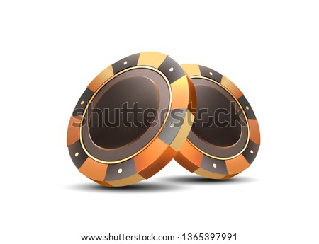 Golden chips on a white background. Casino chips. Isolated chips. Vector.