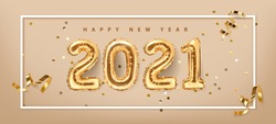 2021 golden decoration holiday on beige background. Shiny party background. Gold foil balloons numeral 2021 with realistic festive objects,, glitter gold confetti and serpentine. Horizontal