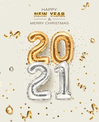 2021 golden decoration holiday on beige background. Shiny party background. Gold foil balloons numeral 2021 with realistic festive objects, glitter gold confetti and serpentine. Happy new year 2021