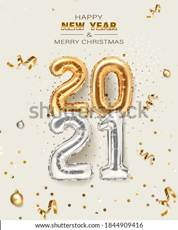 2021 golden decoration holiday on beige background. Shiny party background. Gold foil balloons numeral 2021 with realistic festive objects, glitter gold confetti and serpentine. Happy new year
