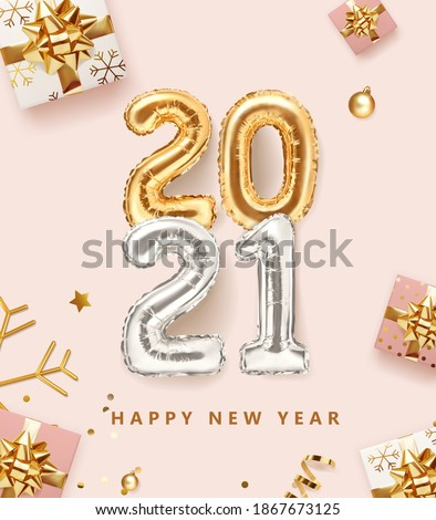 2021 golden decoration holiday on pink color background. Gold foil balloons numeral 2021 with realistic festive objects, glitter gold confetti, gifts and serpentine. Happy new year  holiday poster