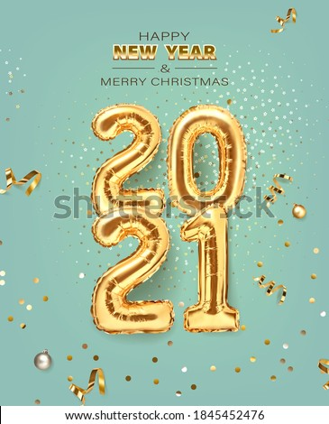 2021 golden decoration holiday on trendy background. Shiny party background. Gold foil balloons numeral 2021 with realistic festive objects, glitter gold confetti and serpentine. Happy new year
